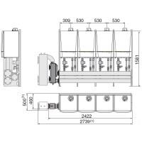 """Каскадная система (из 2/3/4 котлов) для монтажа в один ряд на полу: """"LV"""" (мощностью от 080 до 428 кВт)"""