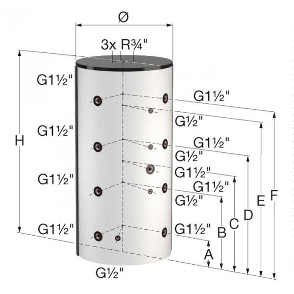 Комбинированные баки-накопители Flamco KPB 600/155-КРВ 1000/215